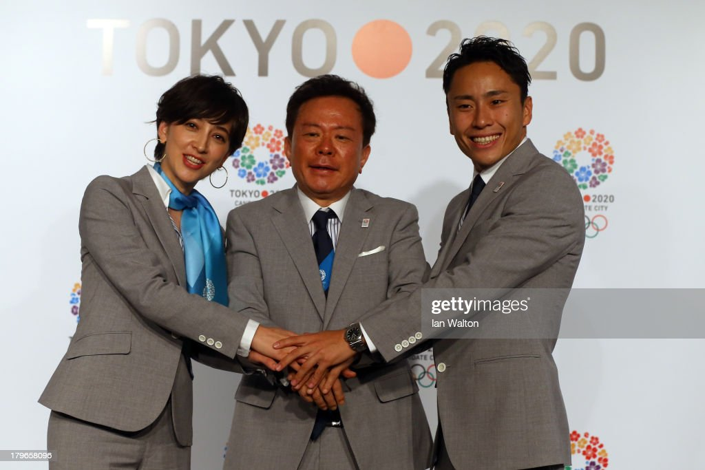 Naoki Inose (C), Governor of Tokyo and Chairman Tokyo 2020 Bid Committee pose with Christel Takigawa, 'Cool Tokyo' Ambassador and <a gi-track='captionPersonalityLinkClicked' href=/galleries/search?phrase=Yuki+Ota&family=editorial&specificpeople=2956051 ng-click='$event.stopPropagation()'>Yuki Ota</a>, Bid Ambassador Tokyo 2020 after a Tokyo 2020 Bid Committee press conference ahead of the 125th IOC Session at Sheraton Buenos Aires Hotel and Convention Centre on September 6, 2013 in Buenos Aires, Argentin