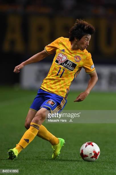 Naoki Ishihara of Vegalta Sendai in action during the JLeague J1 match between Vegalta Sendai and Sagan Tosu at Yurtec Stadium Sendai on September 10...