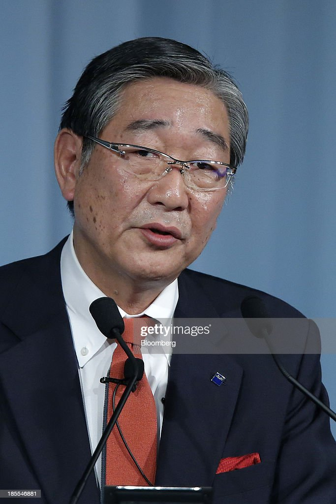 Naoki Izumiya, president and chief operating officer of Asahi Group Holdings Ltd., speaks at the 15th Nikkei Global Management Forum in Tokyo, Japan, on Tuesday, Oct. 22, 2013. The forum concludes today. Photographer: Kiyoshi Ota/Bloomberg via Getty Images