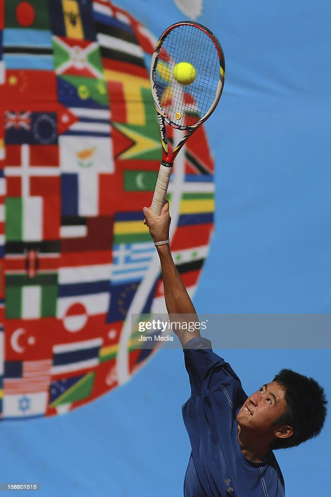 Naoki Nakawaga of Japon during the Mexican Youth Tennis Open at Deportivo Chapultepec on December 29, 2012 in Mexico City, Mexico.