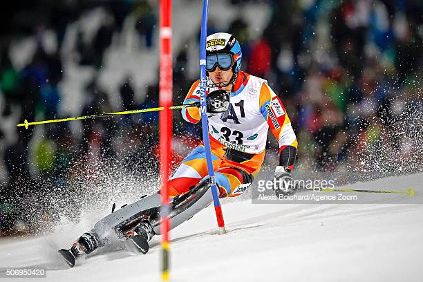 Naoki Yuasa of Japan competes during the Audi FIS Alpine Ski World Cup Men's Slalom on January 26 2016 in Schladming Austria