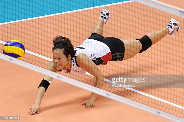 Naoko Hashimoto of Japan in action during day five of the FIVB World Grand Prix Sapporo 2013 match between USA and Japan at Hokkaido Prefectural...