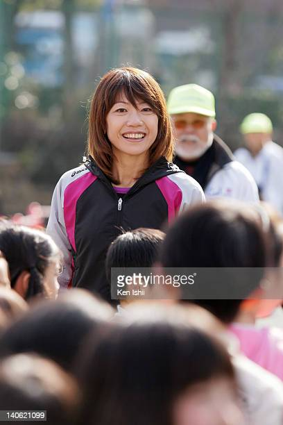 Naoko Takahashi attends the Sports of Heart at primary school on March 3 2012 in Tokyo Japan