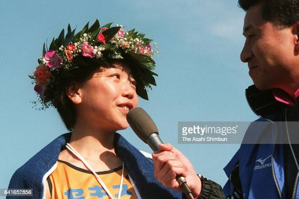 Naoko Takahashi of Japan is interviewed after winning the 19th Nagoya International Women's Marathon at Mizuho Athletic Stadium on March 8 1998 in...