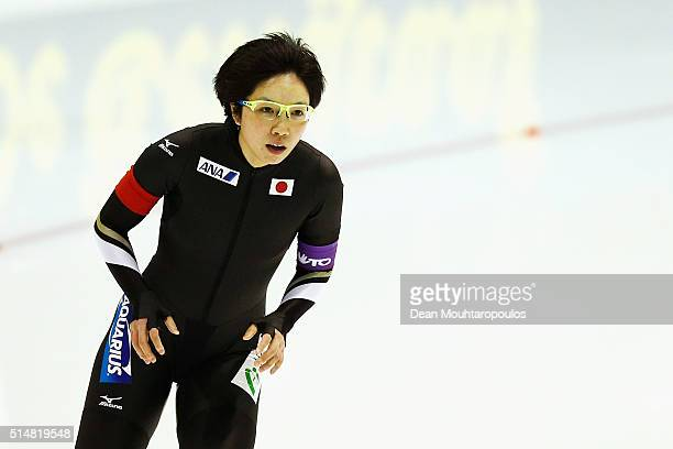 Nao Kodaira of Japan looks on after she competes in the women 500m race during day one of the ISU World Cup Speed Skating Finals held at Thialf Ice...