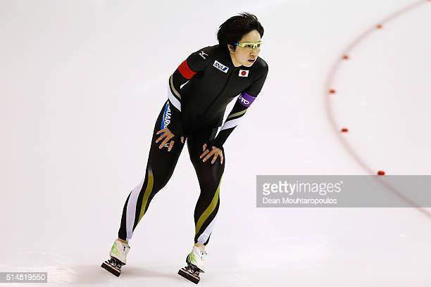 NaoKodaira of Japan looks on after she competes in the women 500m race during day one of the ISU World Cup Speed Skating Finals held at Thialf Ice...