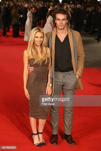 Naomi Ball and Max Morley attend the European premiere of 'Pride And Prejudice And Zombies' at Vue West End on February 1 2016 in London England