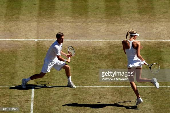 Naomi Broady and Neal Skupski of Great Britain during their Mixed Doubles quarterfinal match against Aisam Qureshi of Pakistan and Vera Dushevina of...