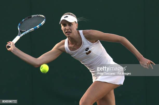 Naomi Broady in action against IrinaCamelia Begu during day one of the Wimbledon Championships at the All England Lawn Tennis and Croquet Club...