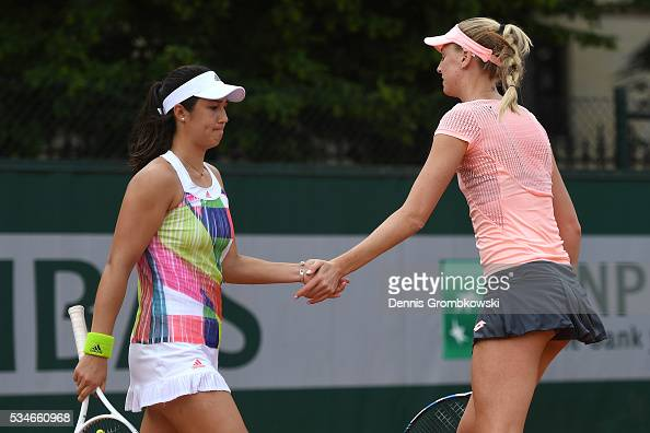 Naomi Broady of Great Britain and Louisa Chirico of the United states celebrate during the Ladies Doubles first round match against Vitalia Diachenko...