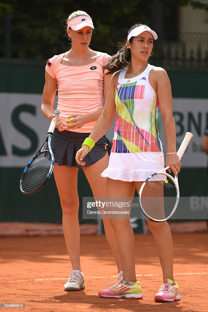 <a gi-track='captionPersonalityLinkClicked' href=/galleries/search?phrase=Naomi+Broady&family=editorial&specificpeople=4313824 ng-click='$event.stopPropagation()'>Naomi Broady</a> of Great Britain and Louisa Chirico of the United states talk tactics during the Ladies Doubles first round match against Vitalia Diachenko of Russia and Galina Voskoboeva of Kazakhstan on day six of the 2016 French Open at Roland Garros on May 27, 2016 in Paris, France.