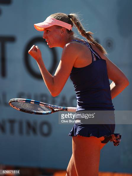 Naomi Broady of Great Britain celebrates a point against Monica Puig of Puerto Rico in their second round qualifying match during day one of the...