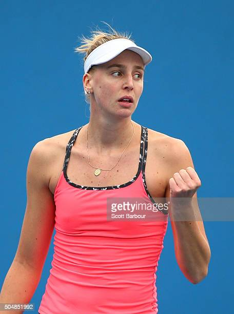 Naomi Broady of Great Britain celebrates in his her match against Alize Lim of France during the first round of 2016 Australian Open Qualifying at...