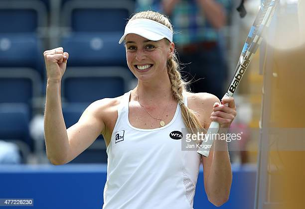 Naomi Broady of Great Britain celebrates victory over Ajla Tomljanovic of Croatia on day one of the Aegon Classic at Edgbaston Priory Club on June 15...