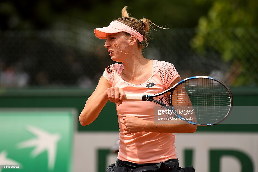 <a gi-track='captionPersonalityLinkClicked' href=/galleries/search?phrase=Naomi+Broady&family=editorial&specificpeople=4313824 ng-click='$event.stopPropagation()'>Naomi Broady</a> of Great Britain hits a forehand during the Ladies Doubles first round match against Vitalia Diachenko of Russia and Galina Voskoboeva of Kazakhstan on day six of the 2016 French Open at Roland Garros on May 27, 2016 in Paris, France.