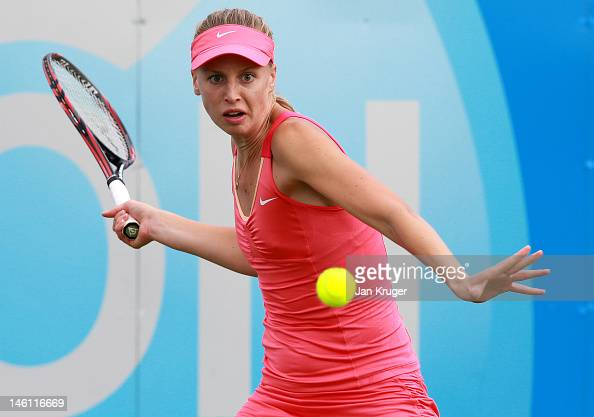 Naomi Broady of Great Britain hits a forehand during the qualifying round ahead of the AEGON Classic at Edgbaston Priory Club on June 9 2012 in...
