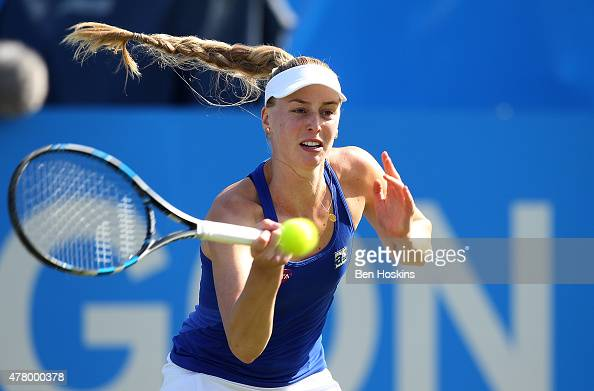 Naomi Broady of Great Britain in action during her qualifying match against Sloane Stephens of The USA at Devonshire Park on June 21 2015 in...