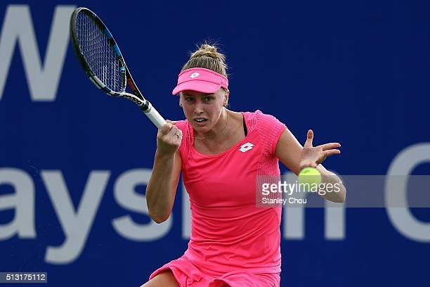 Naomi Broady of Great Britain in action during round two of the 2016 BMW Malaysian Open at Kuala Lumpur Golf Country Club on March 1 2016 in Kuala...