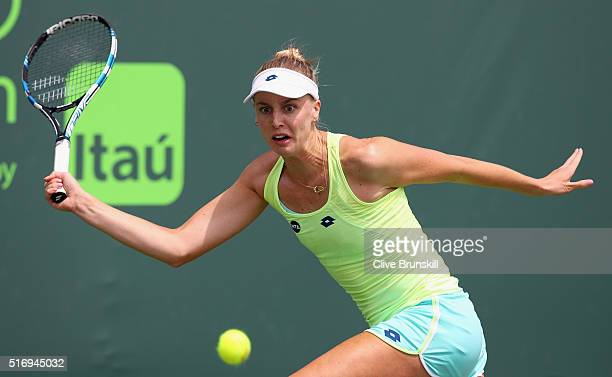 Naomi Broady of Great Britain in action in her final qualifying round match against Aliaksandra Sasnovich of Belarus during the Miami Open Presented...