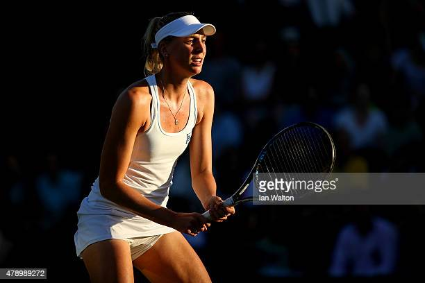 Naomi Broady of Great Britain in action in her Ladies Singles first round match against Mariana DuqueMarino of Colombia during day one of the...