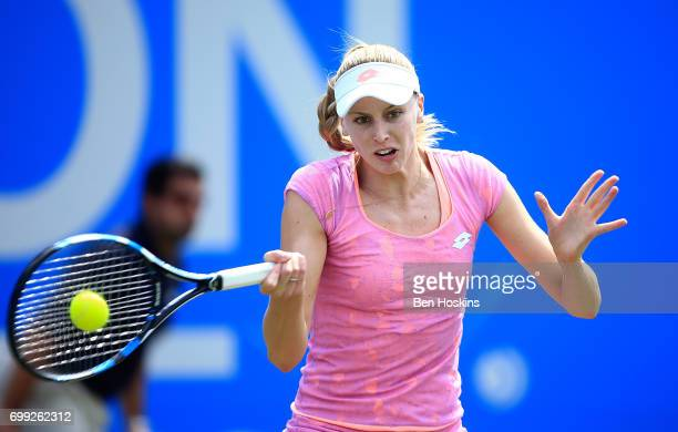 Naomi Broady of Great Britain its a forehand during the second round match against Petra Kvitova of The Czech Republic on day three of The Aegon...