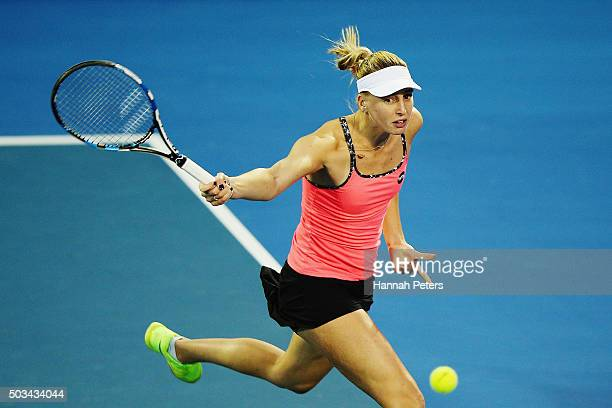 Naomi Broady of Great Britain plays a backhand during her first round match against Ana Ivanovic of Serbia during day two of the 2016 ASB Classic at...