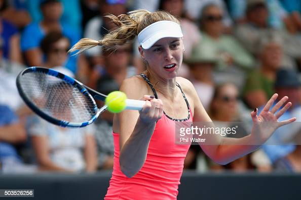 Naomi Broady of Great Britain plays a forehand during her singles match against Jelena Ostapenko of Latvia during day three of the 2016 ASB Classic...