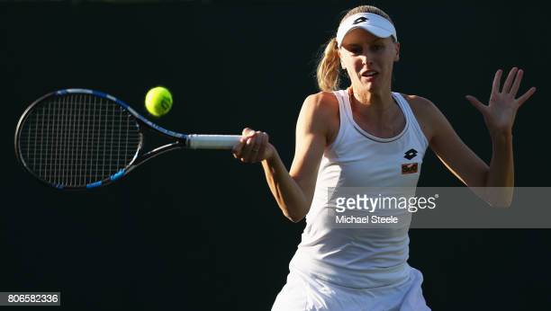 Naomi Broady of Great Britain plays a forehand during the Ladies Singles first round match against IrinaCamelia Begu of Romania on day one of the...