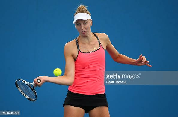 Naomi Broady of Great Britain plays a forehand in her match against Alize Lim of France during the first round of 2016 Australian Open Qualifying at...