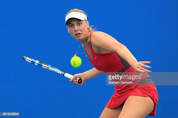 Naomi Broady of Great Britain plays a forehand in her qualifying match against Urszula Radwanska of Poland for the 2015 Australian Open at Melbourne...