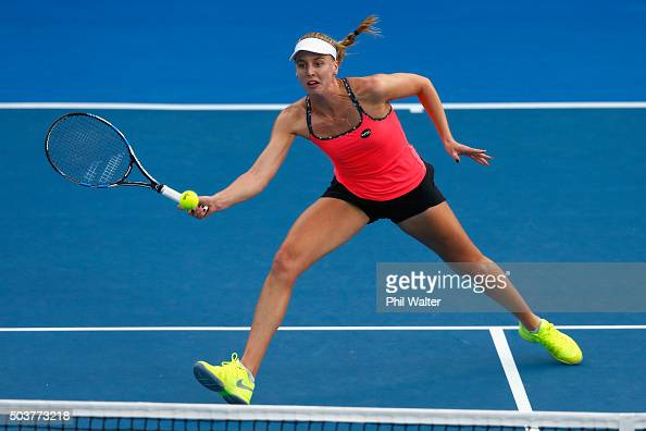 Naomi Broady of Great Britain plays a forehand return against Sloane Stephens of the USA during day four of the 2016 ASB Classic at ASB Tennis Arena...