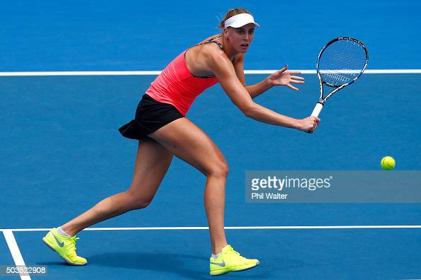 Naomi Broady of Great Britain plays a return in her singles match against Jelena Ostapenko of Latvia during day three of the 2016 ASB Classic at ASB...