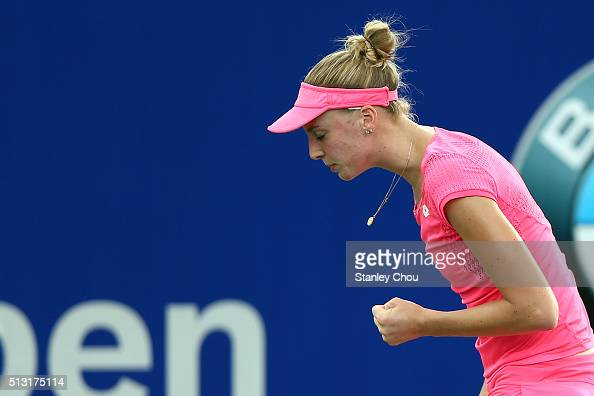Naomi Broady of Great Britain reacts during round two of the 2016 BMW Malaysian Open at Kuala Lumpur Golf Country Club on March 1 2016 in Kuala...