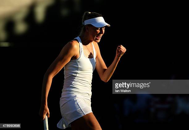 Naomi Broady of Great Britain reacts in her Ladies Singles first round match against Mariana DuqueMarino of Colombia during day one of the Wimbledon...