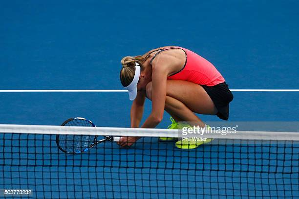 Naomi Broady of Great Britain reacts in her singles match against Sloane Stephens of the USA during day four of the 2016 ASB Classic at ASB Tennis...