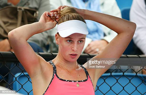 Naomi Broady of Great Britain reacts in his her match against Alize Lim of France during the first round of 2016 Australian Open Qualifying at...