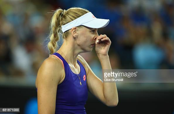Naomi Broady of Great Britain shows her dejection in her first round match against Daria Gavrilova of Australia on day two of the 2017 Australian...