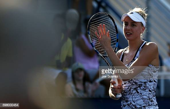 Naomi Broady of the United Kingdom reacts after defeating Laura Robson of the United Kingdom during her first round Women's Singles match on Day Two...