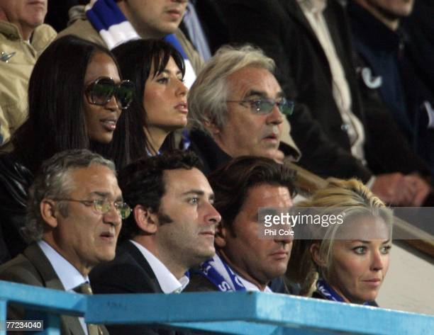 Naomi Cambell and Flavio Briatore and Tamara Beckwith look on during the Coca Cola Championship match between Queens Park Rangers and Norwich City at...