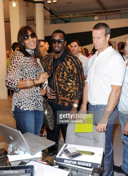 Naomi Campbel Puff Daddy and Vladislav Doronin attend the 'Art Basel Miami Beach 2011 preview' at the Miami Beach Convention Center on November 30...