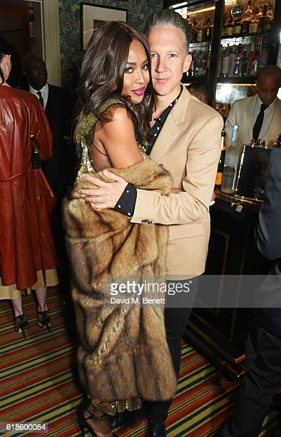 Naomi Campbell and Jefferson Hack attend Edward Enninful's OBE dinner at Mark's Club on October 27 2016 in London England