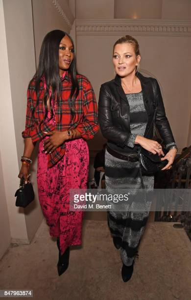 Naomi Campbell and Kate Moss wearing Burberry at the Burberry September 2017 at London Fashion Week at The Old Sessions House on September 16 2017 in...