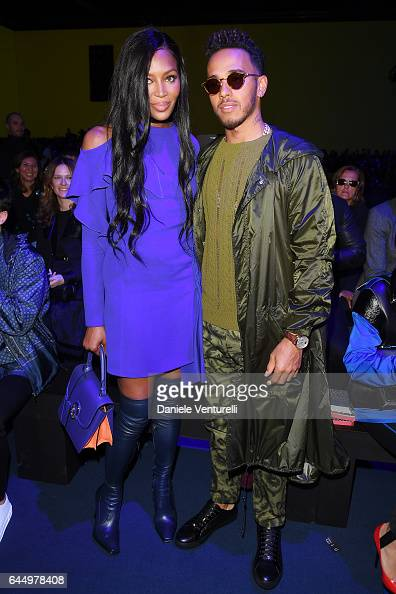 Naomi Campbell and Lewis Hamilton attend the Versace show during Milan Fashion Week Fall/Winter 2017/18 on February 24 2017 in Milan Italy