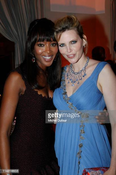 Naomi Campbell and Nadja Auermann attend the de Grisogono predinner cocktail reception at Hotel Du Cap Eden Roc on May 17 2011 in Cannes France