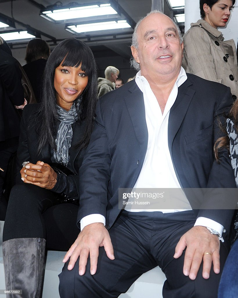 Naomi Campbell and Phillip Green attend the Christopher Kane Fashion Show at the Top Shop show space as part of London Fashion Week on February 22, 2010 in London, England.