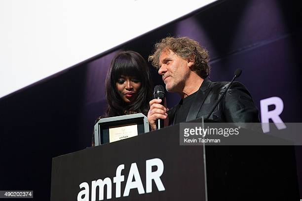 Naomi Campbell and Renzo Rosso are seen at amfAR Milano 2015 at La Permanente on September 26 2015 in Milan Italy