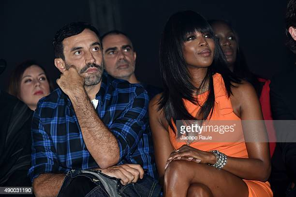 Naomi Campbell and Riccardo Tisci attend the Versace show during the Milan Fashion Week Spring/Summer 2016 on September 25 2015 in Milan Italy