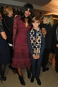 Naomi Campbell and Romeo Beckham attend the Burberry Festive film premiere at 121 Regent Street on November 3 2015 in London England