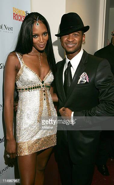 Naomi Campbell and Usher during Conde Nast Media Group Presents Fashion Rocks 2004 Backstage and Audience at Radio City Music Hall in New York City...