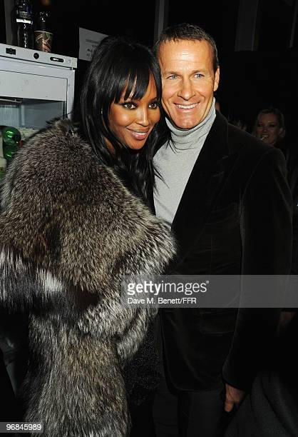 Naomi Campbell and Vladislav Doronin pose backstage during Naomi Campbell's Fashion For Relief Haiti London 2010 Fashion Show at Somerset House on...
